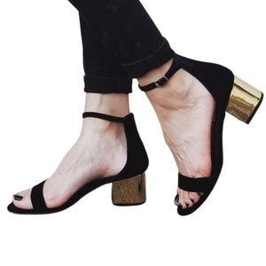 Steve Madden Black Sandal With Gold Block Heel